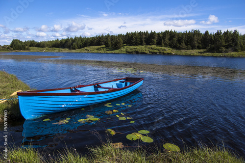 Blue boat in a lake, Connemara Ireland
