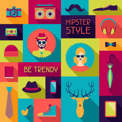 Hipster background in flat design style.
