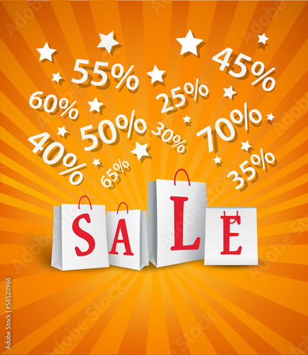 Sale poster design with shopping bags and percent discount