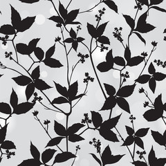 Branch, leaf silhouette seamless background. Floral pattern.