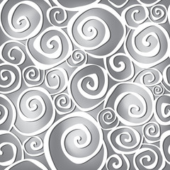 Abstract black and white wavy background in 1960s fabric style.