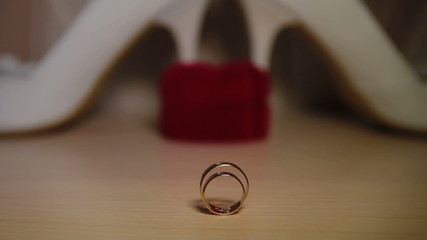 Two wedding rings on a table. Close-up