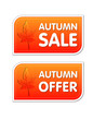 autumn sale and offer labels with leaf