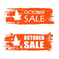 october sale drawn banner with leaf