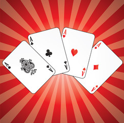 Aces on red background