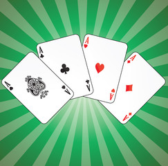 Aces on green background
