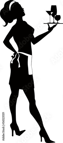 Silhouette of a cocktail waitress