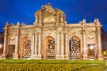 Puerta de Alcala at Christmas. Madrid, Spain