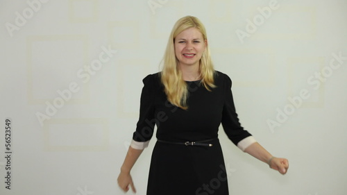 Ecstatic business woman enjoying success