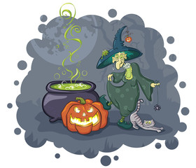 Old witch with pumpkin and cauldron