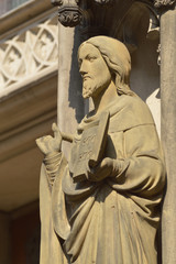 Statue of Jesus without fingers on a Church in Munster