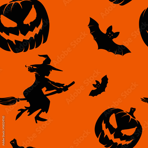 Seamless orange and black pattern with Halloween elements