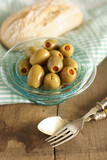 Stuffed olives and Ciabatta