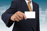 Businessman show a blank businesscard