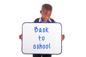 African American school boy holding a blank board - Black people