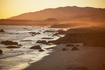beach at sunset, San Simeon, California
