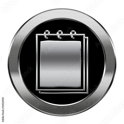 Notebook icon silver, isolated on white background.