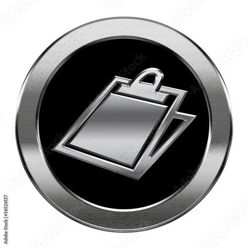 table icon silver, isolated on white background.