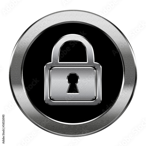 Lock icon silver, isolated on white background.
