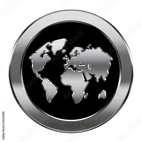 world icon silver, isolated on white background.