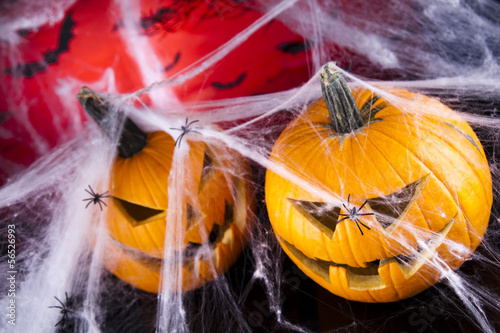 Halloween background with web and spider,pumpkin