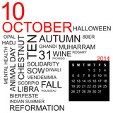 word cloud and calendar october 2014