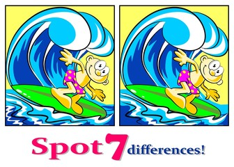 The surfer - Find the seven differences