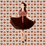 Retro woman on valentine wallpaper texture