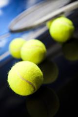 Tennis racket and balls, sport