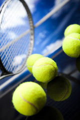 Tennis racket and balls, sport