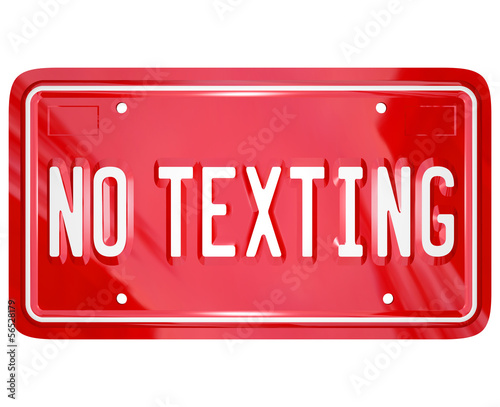 No Texting License Plate Warning Danger Text Message