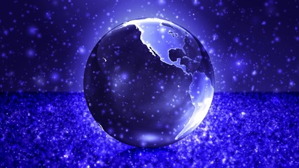 Centred Glowing Earth Sphere in Snow Field
