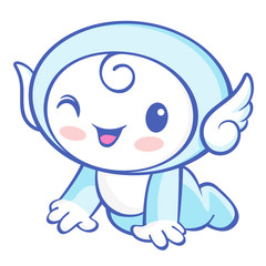 The Cherub Mascot is crawling around the room. Angel Character D