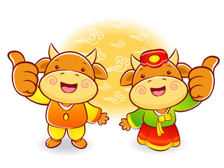 Bull and Cow Mascot the hand best gesture. Korea Traditional Cul