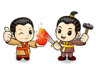 Blacksmith couple in South Korea making the knife. Korean Tradit