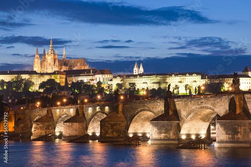 Staande foto Praag St Vitus Cathedral, Prague Castle and Charles Bridge