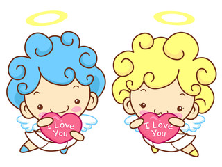 Baby Angel character is holding a big heart. Angel Character Des