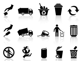 black garbage icons set