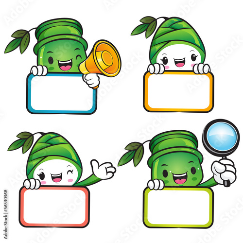 Diverse styles of Bamboo and Bamboo shoot Mascot Sets. Nature Ch