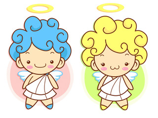 Cherub Mascot flying to the sky. Angel Character Design Series.