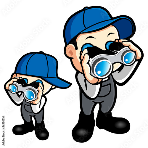 Father and son are monitored with binoculars. Work and Job Chara