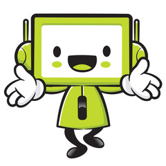 Television mascot the direction of pointing with both hands. App