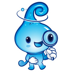 Water drop mascot examine a with a magnifying glass. Nature Char