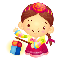 The Girl Mascot is holding a lantern Building. Korea Traditional