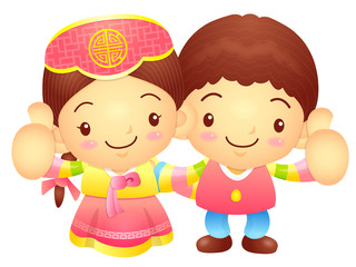 Boy and Girl Mascot the hand best gesture. Korea Traditional Cul