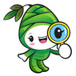 Bamboo shoot Character examine a with a magnifying glass. Nature