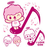 Have happy singing Cherub mascot. Angel Character Design Series.