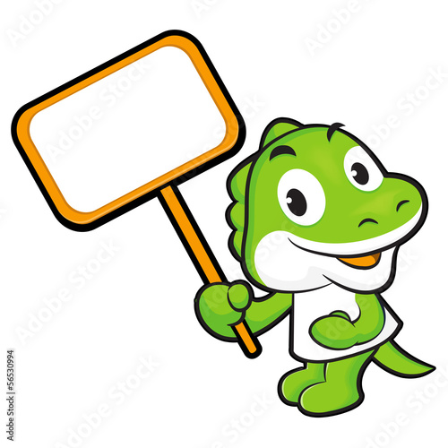 The Dinosaur mascot holding a big board. Animal Character Design