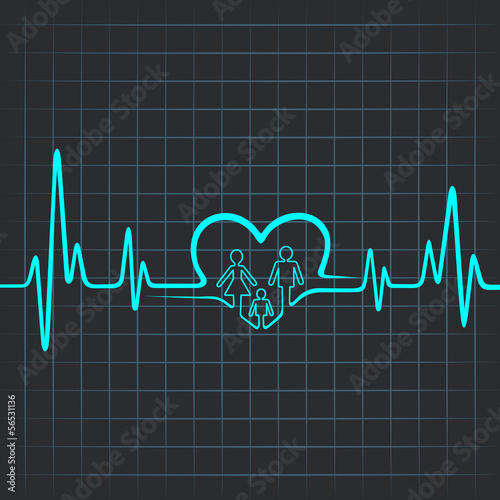 Heartbeat make family and heart symbol vector illustration