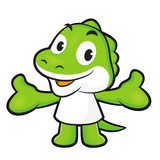 Dinosaur mascot the direction of pointing with both hands. Anima